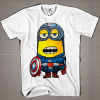 CAPTAIN AMERICA MINION PARODY  Mens and Women T-Shirt Available Color Black And White