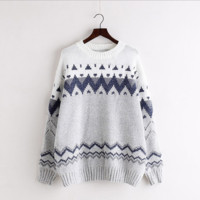 Contrast Color Pullover Knit Loose Upset Sweater