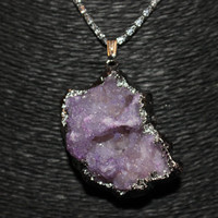 Silver Agate Geode Stone Pendant Necklace