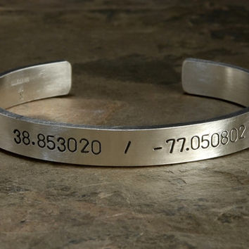 Massive latitude and longitude sterling silver bracelet personalized with your very own coordinates