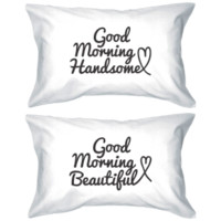 Good Morning Handsome and Beautiful Couple Pillowcase Set