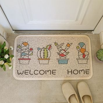 Autumn Fall welcome door mat doormat Plant Printed Pattern Cactus PVC Stretch Wire s Hall Anti-slip Carpet Waterproof Floor Mat Entrance Foam Rug Carpet AT_76_7