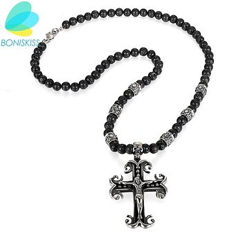 Boniskiss Jewelry Stainless Steel Cross Necklace Gun Black Skull Crucifix Jesus Pendent Necklace For Women Men Christmas Gift