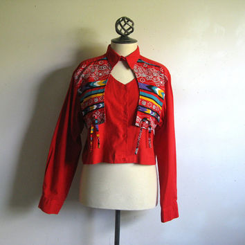 Vintage 1980s Wrangler Top Red South Western Crop Shirt Large