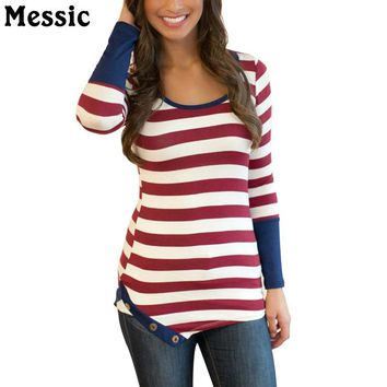 Long Sleeve Striped T Shirt Women O Neck Split Hem Buttons Female T-shirt Top Casual Slim Patchwork Tee Shirt Femme