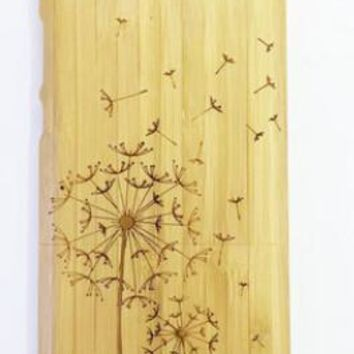 handmade bamboo wool carving Dandelion iPhone 4s iPhone 5s 6 6s plus case-170928