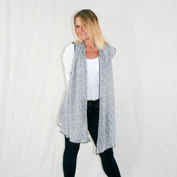 Kimono Vest with Drape Front in a Black & White Sheer Fabric