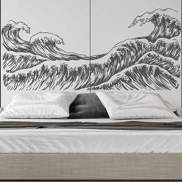 wave Wall Decals Ocean Wave Wall Decals Ocean beach Waves Wall Stickers Ocean Wall Decals sea Wall Decal Stickers for Bedrooms kik3421