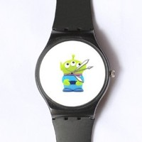 Custom TOY STORY Little Green Man Watches Classic Black Plastic Watch WT-0829