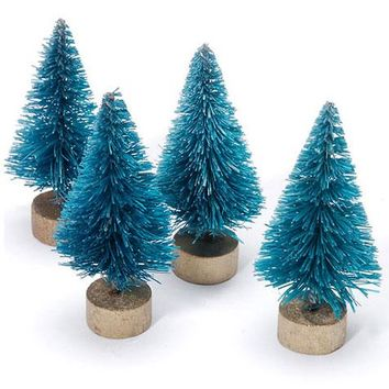 "Set of 10 Mini Sisal Bottle Brush Christmas Trees in Frosted Blue - 3"" Tall"