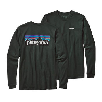 Patagonia Men's Long Sleeved P-6 Logo Cotton Tee- Carbon