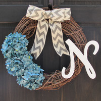 Personalized Blue Hydrangea Wreath with Initial
