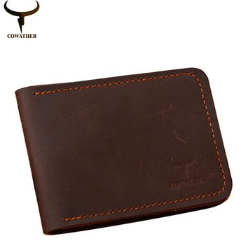 COWATHER 100% cow leather men driving licence Card holders Crzay horse leather solid mens purses male carteira