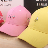 Summer Gift Retro Embroidery Fruit Baseball Cap Unique Casual Hat a12439