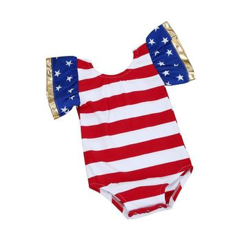 Baby Girls Patriotic USA Romper