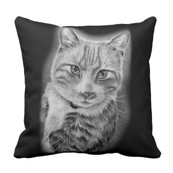 Drawing of Cat Black and White Animal Art Throw Pillow