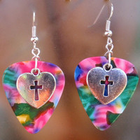Heart Cross Earrings, Christian Guitar Pick Jewelry, Custom Color & Style, Your Choice 12 Colors, Pierced or Clip On, Faith Crucifix Easter