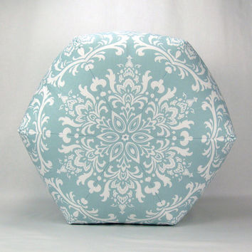"24"" Floor Ottoman Pouf Pillow Powder Blue & White - Ozborne Damask Contemporary Modern Print"