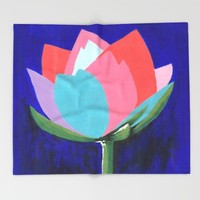 Flashy Flower Throw Blanket by Kathleen Sartoris