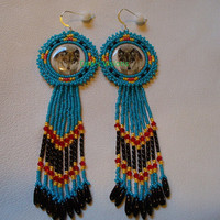 Native American Style beaded Rossette Wolf earrings in Turquoise blue