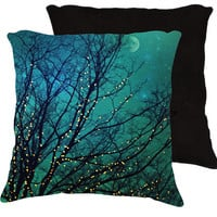 "Nature pillow,18x18 or 22x22 ""Magical night"", twinkle lights,tree branches,turquoise pillow,aqua,whimsical home decor,photo pillow"