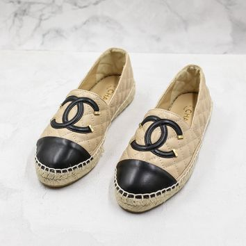 Fashion Brand Chain Women Casual Khaki Leather Espadrilles Loafers Flats Shoes - Best Deal Online
