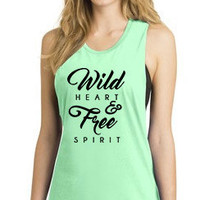 Pre-Sale Wild Heart & Free Spirit Festival Tank Typography Mint Green Purple Pink Bandeau Open Arm Tank Wild and Free Tee Graphic Tank