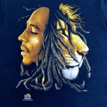 Bob Marley Lion Zion T Shirt Rootswear Hope Road Music Black Size 2X Reggae