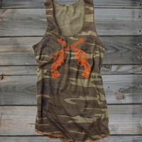 Juniors Crossed Guns Camo Racerback Tank - Country Fashion Clothing