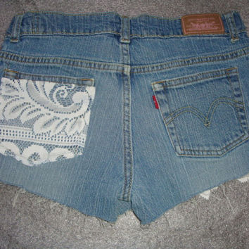 custom LACE jean denim  LEVIs 517   frayed cuff shorts 27 Inch waist