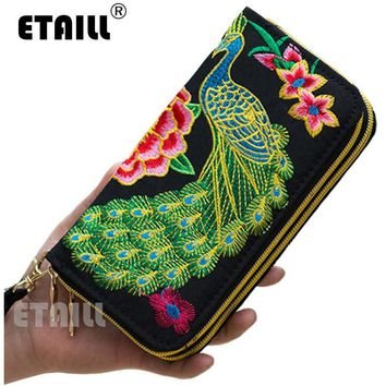 Free Shipping - Peacock Thailand Embroidered Purse Female Clutch Long Wallet Coin Mobile Phone Bag