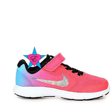 NIKE Pink Rainbow GIRLS PRESCHOOL REVOLUTION 3 | 10.5-3