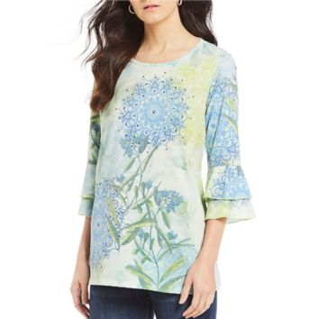 Floral Bell Sleeve Top by Multiples