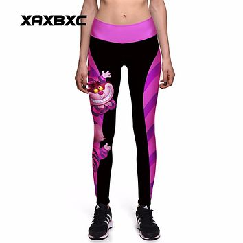NEW 0010 Sexy Girl Women Alice in Wonderland Cheshire cat 3D Prints High Waist Workout Fitness Leggings Pants