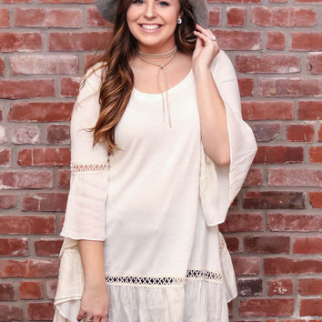 Cream Bell Sleeve Tunic W/Lace Detail
