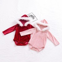 2017 Lovely Newborn Baby Girl Clothes Pleuche Long Sleeve Fur Hoodies Romper Jumpsuit Winter Outfit Clothing 0-24M