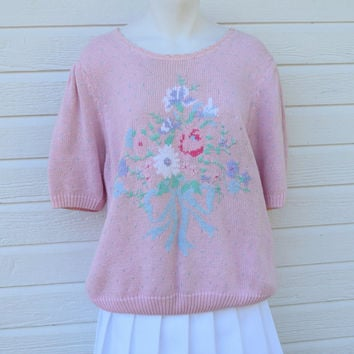 Vintage 80s Knitted Pastel Pink Floral Sweater Knit Top