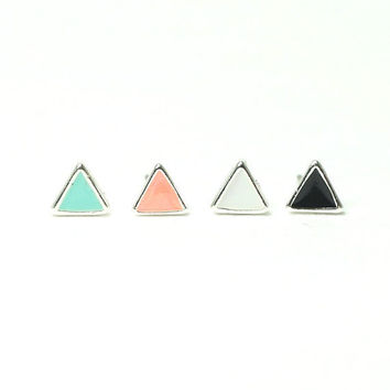 Tiny arrows stud earrings / choose your color / Mint, Peach, White and Black 4 colors