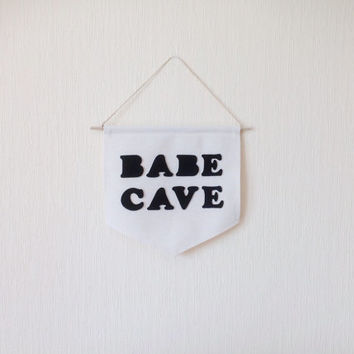 FREE SHIPPING / Babe Cave Banner/ 10,6 x 10,2 in / Canvas Wall Banner / Wall Hanging Banner / Gift Idea / Nursery Banner / Kids Banner /