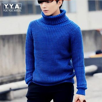 Winter New Fashion Mens Knitting Sweaters Warm Turtleneck Casual Sweater Top Quality Man Long Sleeved Coats Size M L XL 2XL