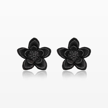 A Pair of Black Starburst Flower Handcarved Wood Earring Stud