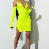 AKIRA Label Bodycon Bandage Off Shoulder Mini Dress in Lime Neon