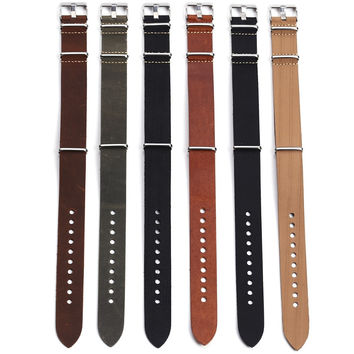 1pc High Quality Genuine Leather Nato Watch Strap&Band 20mm  22mm 24mm with Stainless Steel Buckle