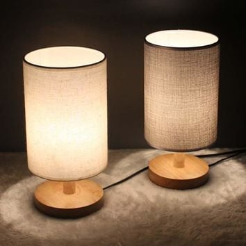 Wooden Round Fabric Table Lamp