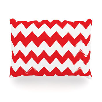 "KESS Original ""Candy Cane Red"" Chevron Oblong Pillow"