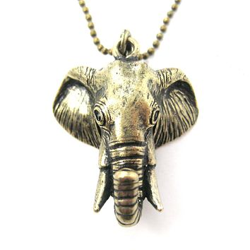 3D Realistic Elephant Head Animal Pendant Necklace in Brass