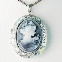 Gray Silver Tone Cameo Lady Locket Oval Custom Pendant Necklace