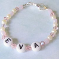 Personalized Baby Bracelet or Anklet, Customized Pearl and Crystal Girls Jewelry