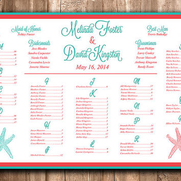 Beach Wedding Seating Chart Download | Wedding Seating Sign | Starfish Teal Coral Red | Wedding Reception Seating Printable