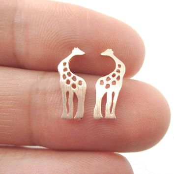 Kissing Giraffe Animal Shaped Silhouette Stud Earrings in Rose Gold | DOTOLY